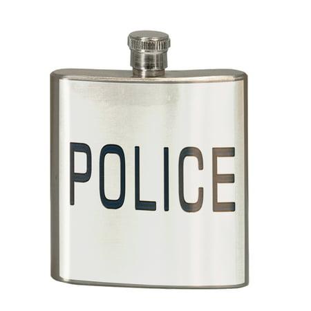 Police Stainless Steel - KuzmarK 6 oz. Stainless Steel Pocket Hip Liquor Flask - Police