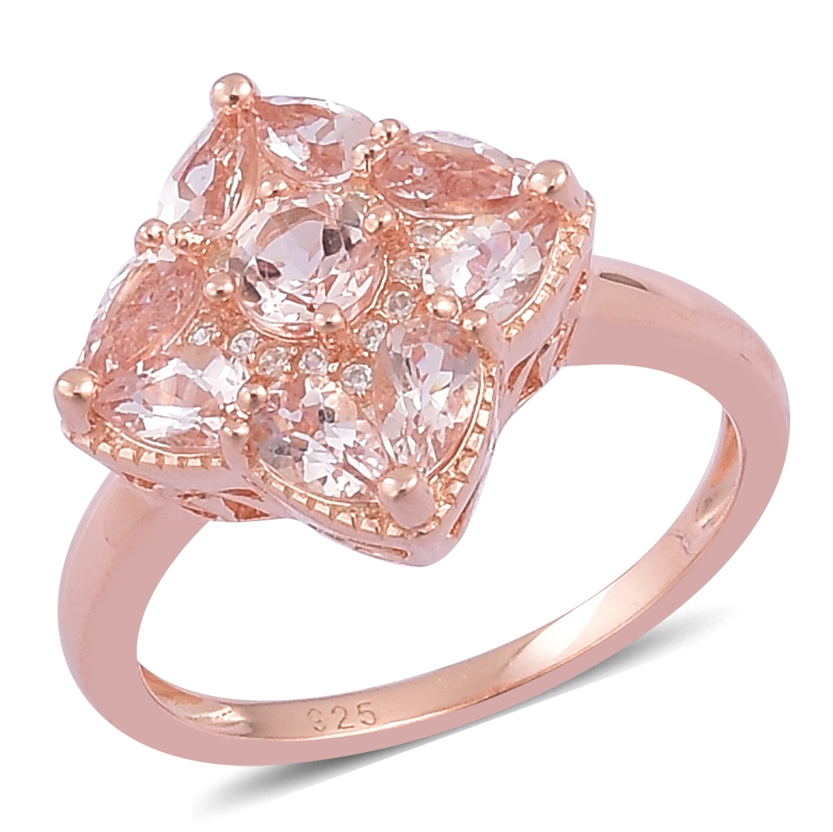 Morganite, White Zircon 14K Rose Gold Plated Silver Ring 1.6 cttw ...