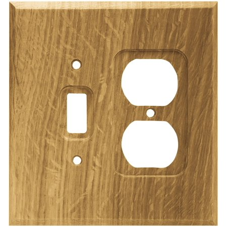 64677 Wood Square Single Toggle Switch/Duplex Outlet Wall Plate / Switch Plate / Cover, Medium Oak, Single Switch/Duplex Wall Plate By Brainerd Ship from -