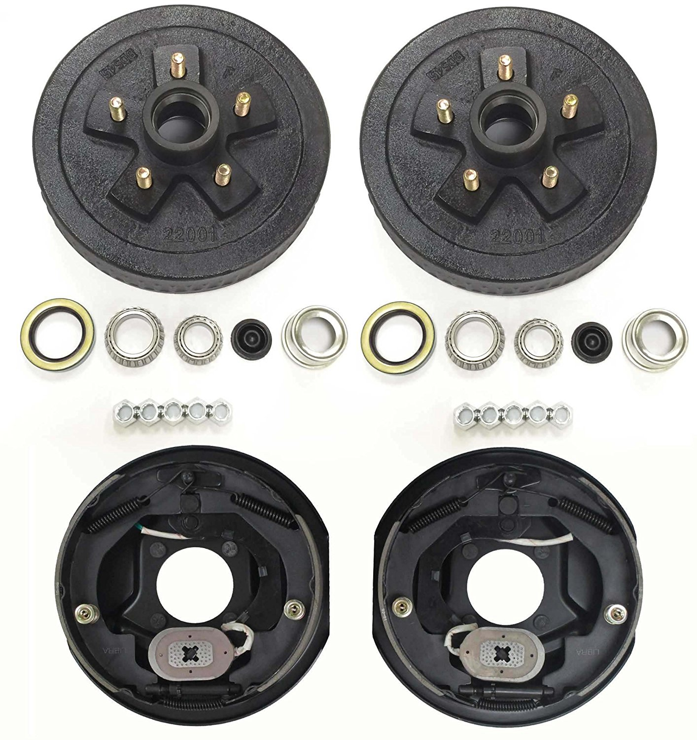"Trailer 5 on 4.5"" B.C. Hub Drum Kits with 10""x2-1/4"" Electric Brakes for 3500 Lbs Axle"