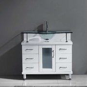 Virtu MS-36-G-GR Vincente 36 Inch Single Bathroom Vanity Set In Grey With Clear Glass Top