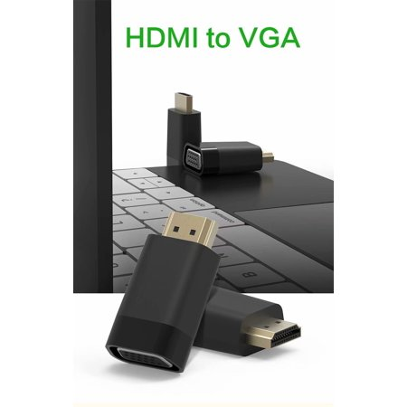 HDMI to VGA Adapter Converter Gold-Plated for PC, Laptop, DVD, Desktop and Other HDMI Input Devices - Black