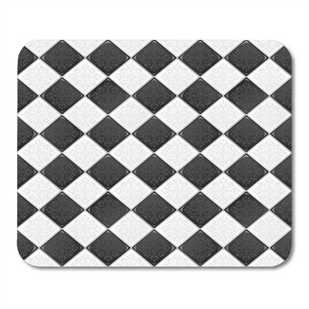 SIDONKU Floor Black and White Retro Victorian Pattern Checkerboard Stone Mousepad Mouse Pad Mouse Mat 9x10 inch - Black And White Checkerboard Floor