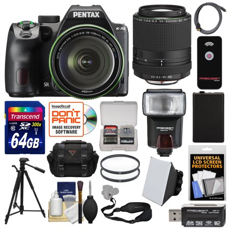 Pentax K-70 All Weather Wi-Fi Digital SLR Camera & 18-135mm WR Lens (Black) with 55-300mm Lens + 64GB Card + Case + Flash + Battery + Tripod + (Pentax K3 Best Price)