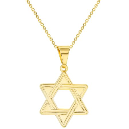 "18k Gold Plated Star of David Jewish Judaism Religious Pendant Necklace 19"" - image 1 of 5"
