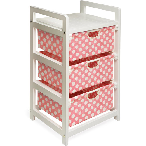 Badger Basket - White Three Drawer Hamper/Storage Unit, Pink Polka Dots