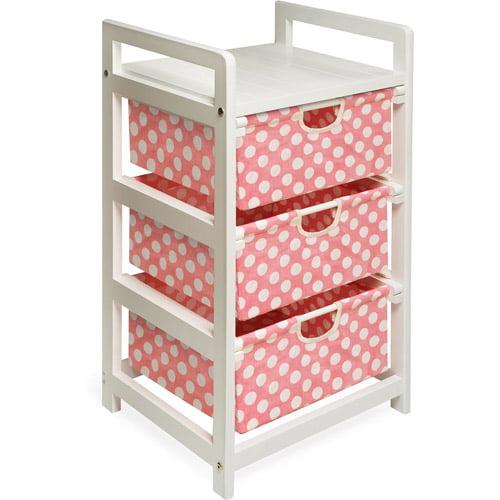Badger Basket - White Three Drawer Hamper/Storage Unit, Pink Polka Dots