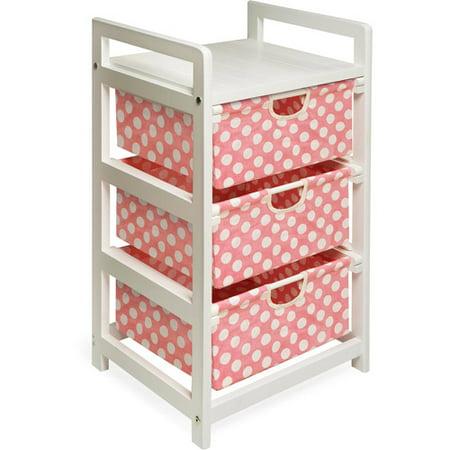 Badger Basket - White Three Drawer Hamper/Storage Unit, Pink Polka Dots ()
