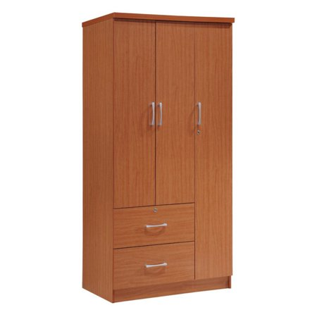Hodedah Imports 3-Door 2-Drawer Armoire Bedroom Mdf Armoire