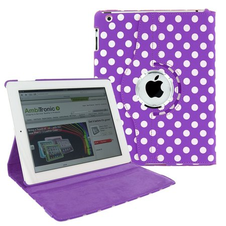 iPad Pro 10.5 Case by KIQ 360 PU Leather Swivel Case Rotating Fitted Slim Cover Multi-View For Apple iPad Pro 10.5-inch, Polka Dot purple