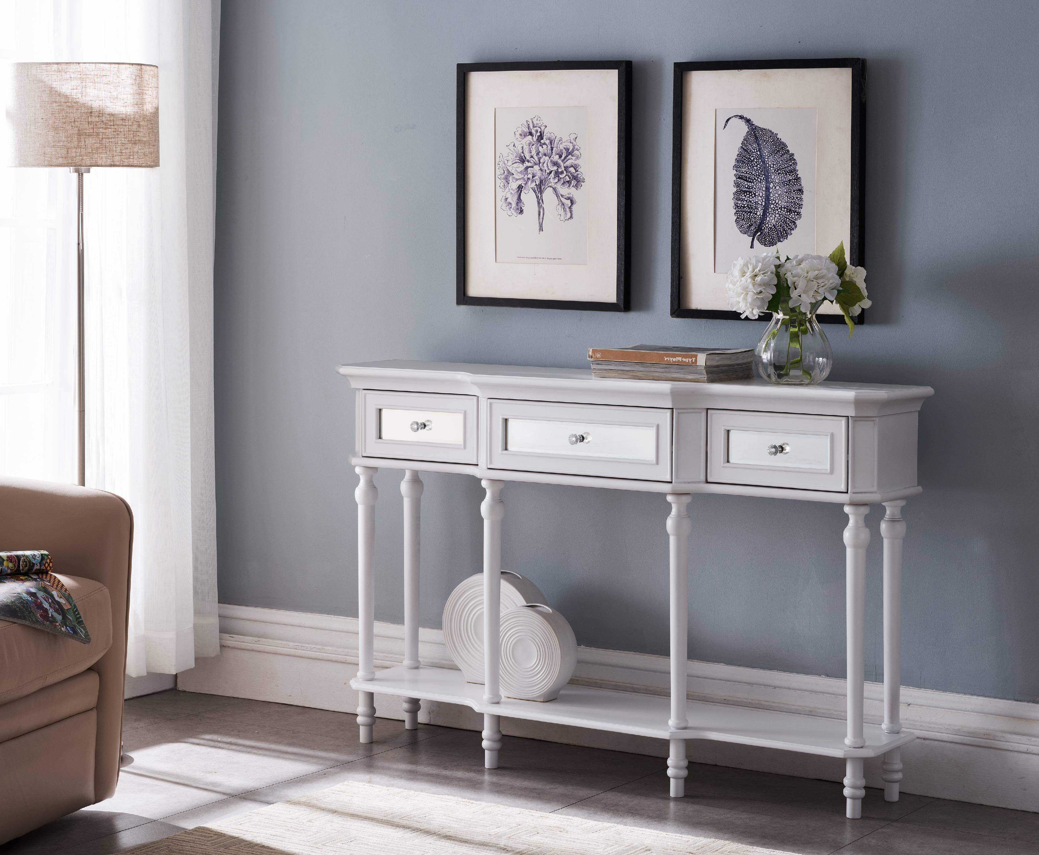 Phoenix White Wood Contemporary 3 Mirrored Drawers Console Table With  Storage Shelf   Walmart.com