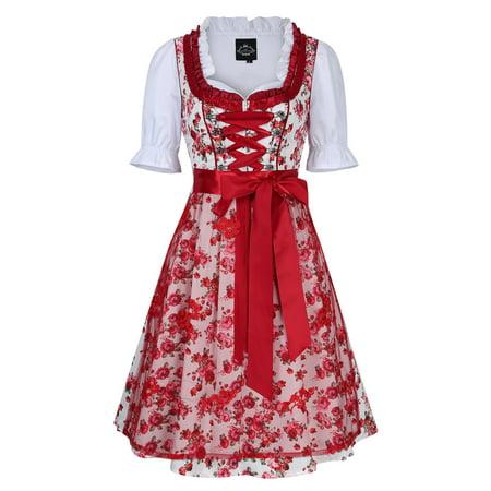 Women's German Dirndl Dress 3 Pieces Oktoberfest Costumes with Lace Apron