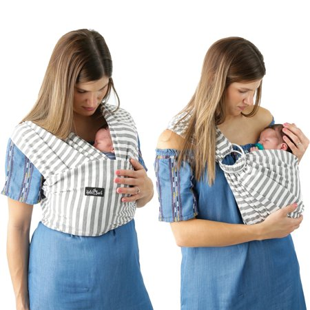 Baby Front Pack Carrier (Kids N' Such 4 in 1 Baby Wrap Carrier and Ring Sling - Use as a Postpartum Belt or Nursing Cover - FREE Storage Pouch - Best for Boys or Girls 8-35lbs - Premium Cotton Blend - Grey and White Stripes )