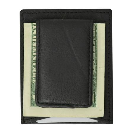 Mens Genuine Leather Magnetic Money Clip Credit Card Holder Wallet 910R (C) Tan