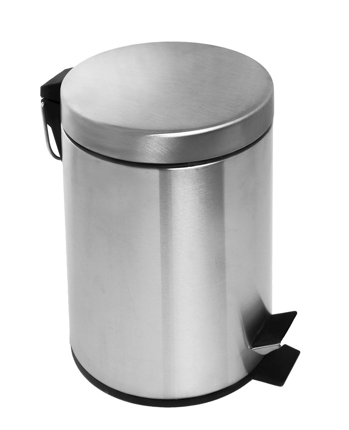 Estilo Round Brushed Stainless Steel Step Trash Can Fingerprint Resistant (3 Liter) by Estilo