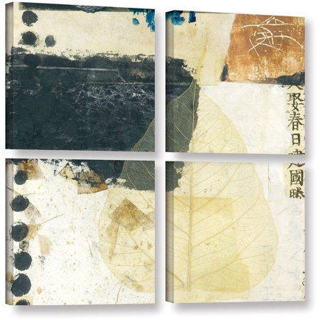 Artwall Elena Ray   Wabi Sabi Bodhi Leaf Collage 2   4 Piece Gallery Wrapped Canvas Square Set