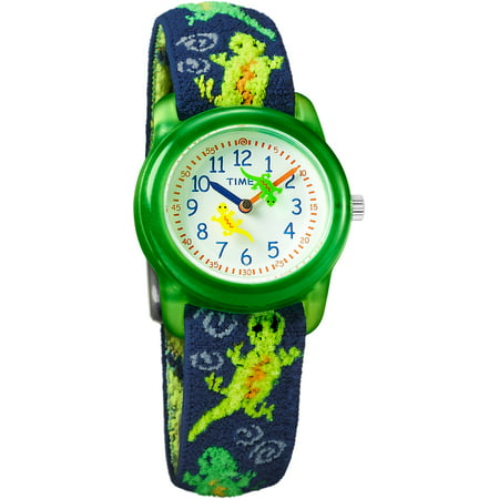 Boys Time Machines Green Lizards Watch, Elastic Fabric - Green Health Watch
