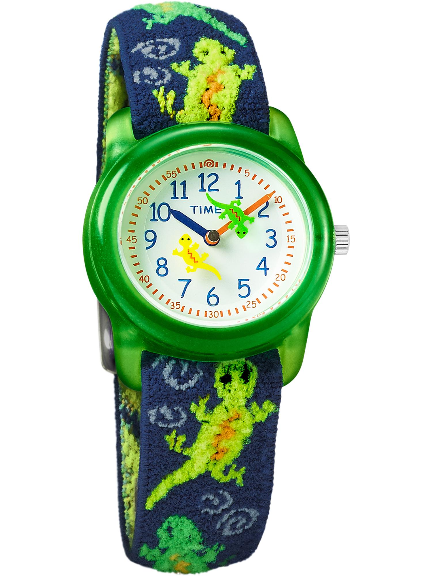 Boys Time Machines Green Lizards Watch, Elastic Fabric Strap