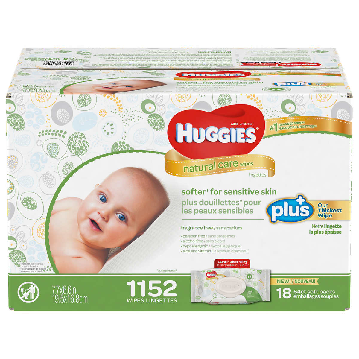 Huggies Natural Care Plus Baby Wipes 1,152 ct Hypoallergenic with Aloe & Vitamin E Fragrance-Free &... by Huggies Natural Care Plus