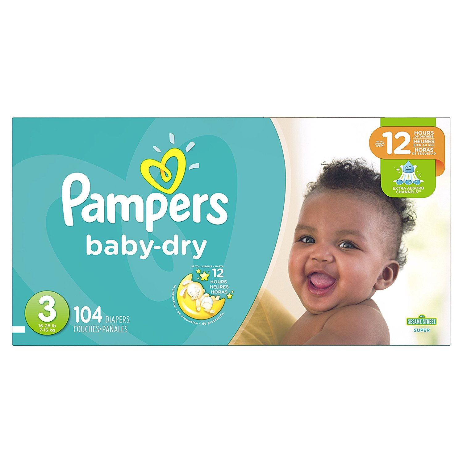 Ba Dry DIapers Size 3, 104 ct, Pampers Baby Dry