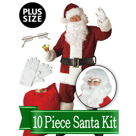 Santa Plus Size Costume - Red Regal Deluxe Complete 10 Piece Kit - Santa Suit Plush Outfit - Adult Santa Outfit