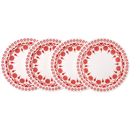 Mainstays Holiday Red And White Floral Print Set of 4 Dinner Plates - Holiday Plates