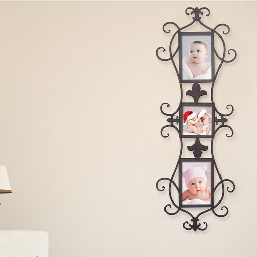 Adeco Trading 3 Opening Decorative Iron Metal Wall Hanging Collage Picture Frame