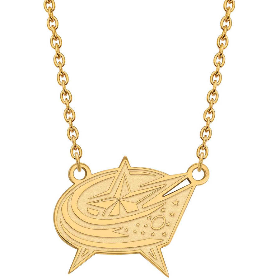 LogoArt NHL Columbus Blue Jackets 14kt Gold-Plated Sterling Silver Large Pendant with Necklace