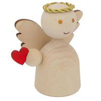 BestPysanky Unfinished Blank Wooden Angel Figurine Holding Heart 3 Inches