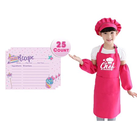 Children's Apron Set for Boys and Girls with Unicorn Rainbow Recipe Cards Set, Adjustable Kitchen Aprons with Matching Chef Hat and Sleeves for Kids, Chef in Training Costume Pretend Play (Pink) Girl Costume Dress Hat Apron