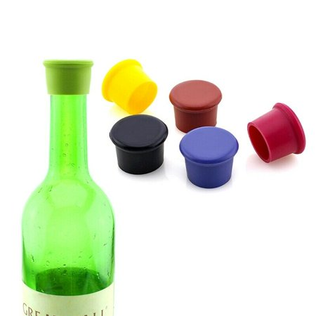 KABOER 6 Pcs Silicone Wine Bottle Caps Beer Wine Bottle Stopper Covers Kitchen Bar Tool