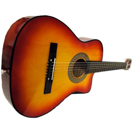 (Full Size Acoustic Country/Bluegrass Cutaway Guitar with Gig Bag - Sunburst)