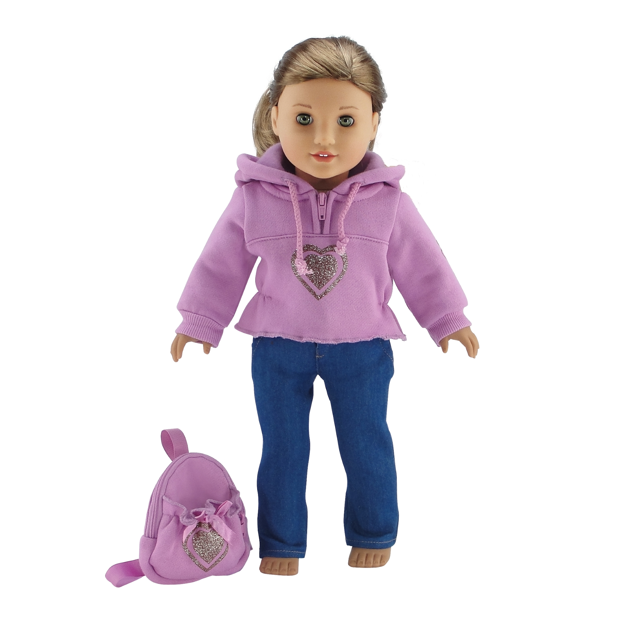 "18 Inch Doll Clothes Heart Hoodie Sweatshirt with Backpack Outfit - Fits American Girl Dolls Includes 18"" Accessories"