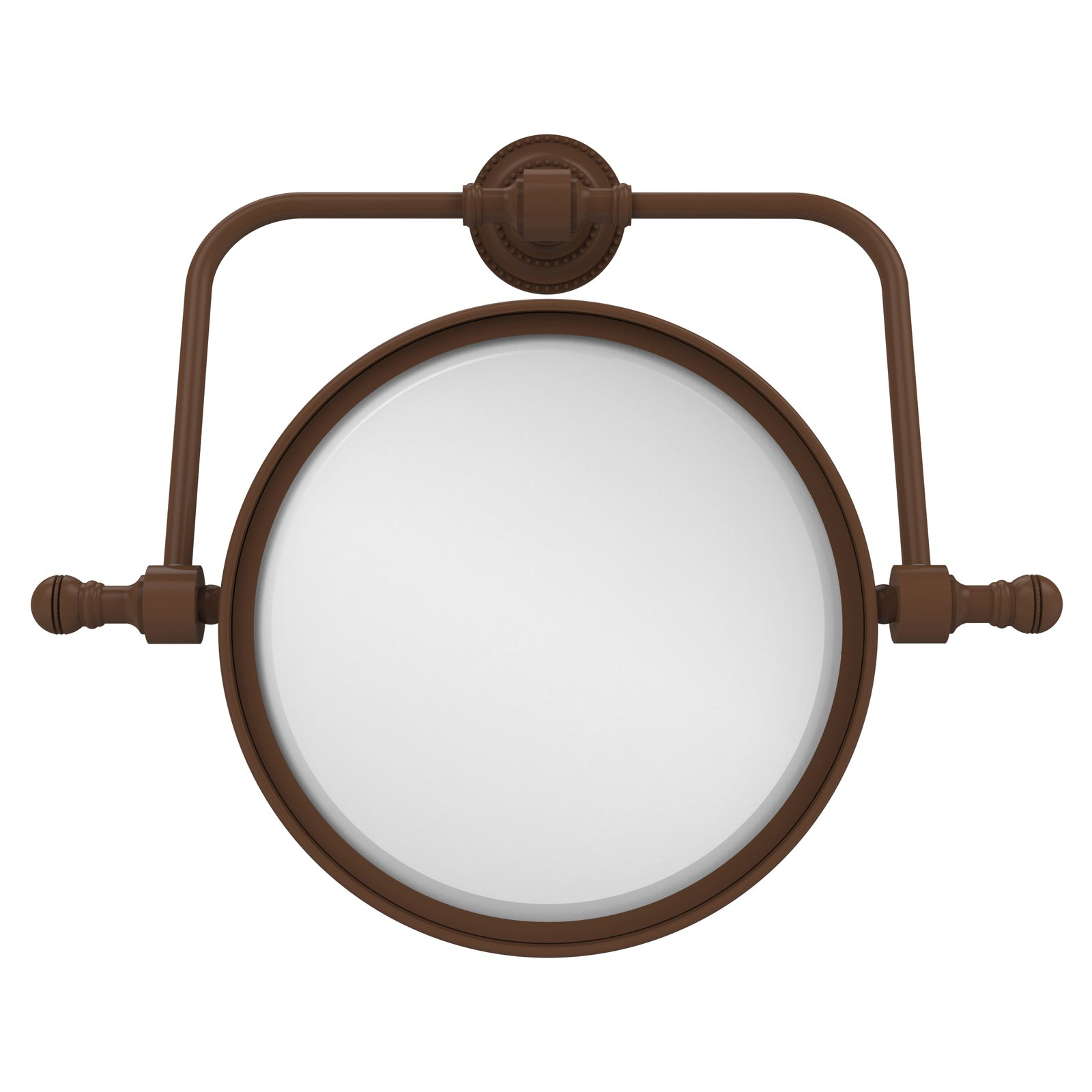 Retro Dot Collection Wall Mounted Swivel Make-Up Mirror 8 Inch Diameter with 5X Magnification