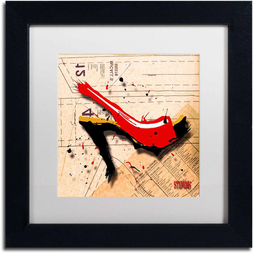 "Trademark Fine Art ""Suede Heel Red"" Canvas Art by Roderick Stevens, White Matte, Black Frame"