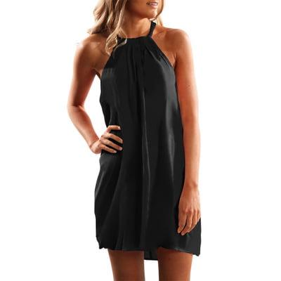 Womens Summer Halter Neck Floral Print Sleeveless Casual Mini Dress