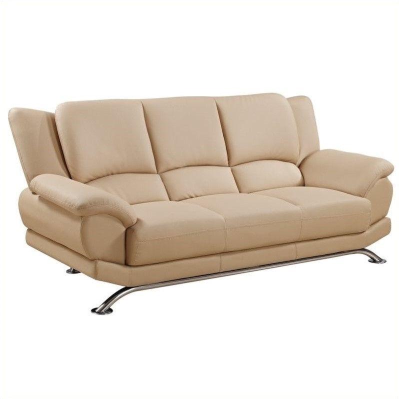 Sofa in Cappuccino Finish With Chrome Legs