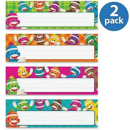 (2 Pack) Trend, TEPT69912, Sock Monkeys Collection Desk Topper Name Plates, 32 / Set, Multicolor ()