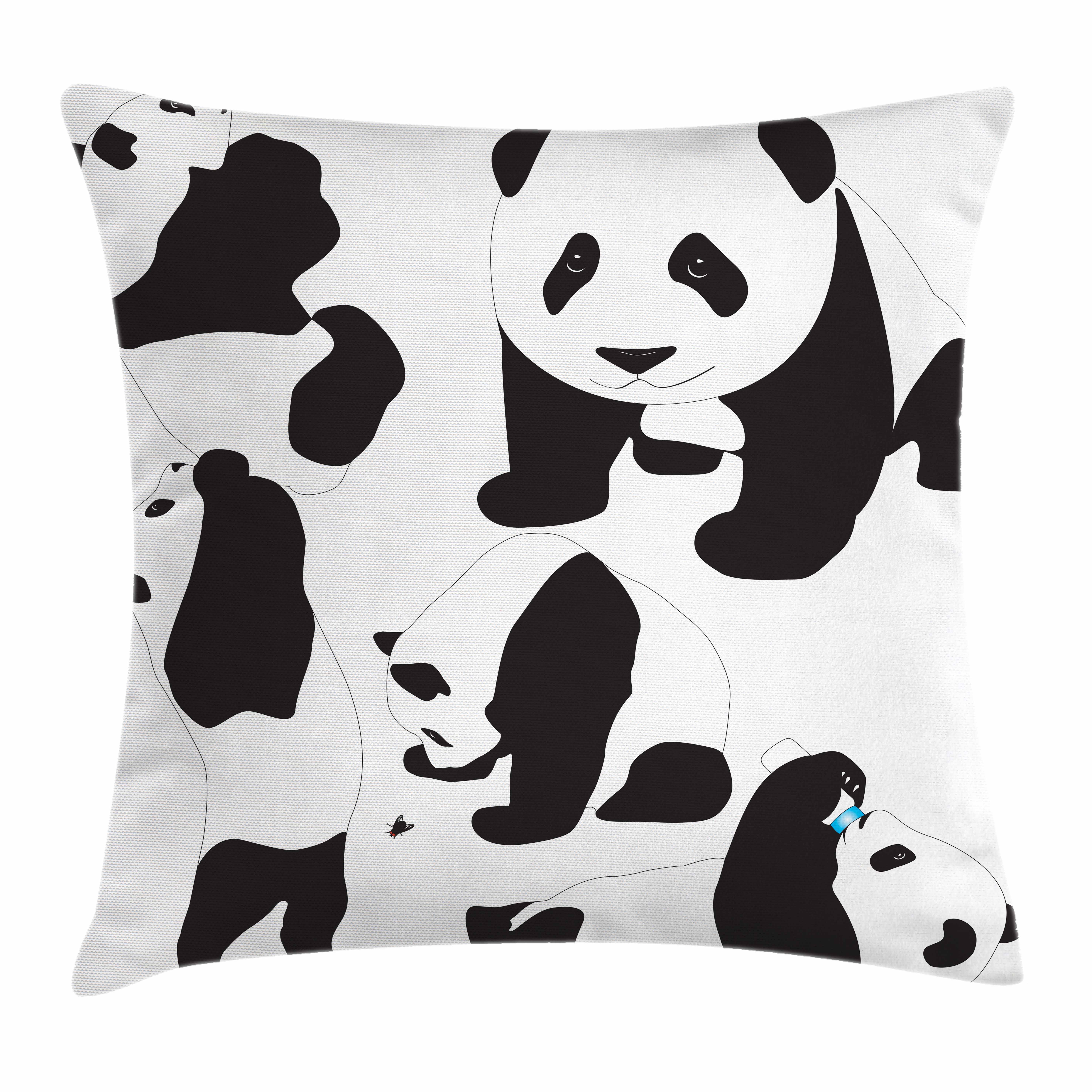 Zoo Throw Pillow Cushion Cover, Drawing of Baby Pandas Milk Bottle Fly Cute Adorable Animal Figures Child Mammal, Decorative Square Accent Pillow Case, 16 X 16 Inches, Black and White, by Ambesonne