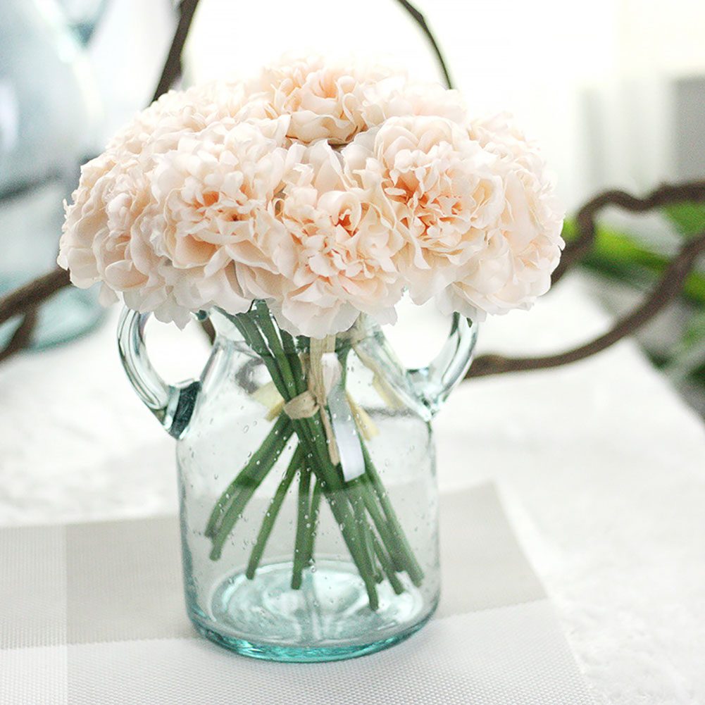 Girl12Queen 1 Bouquet 5 Pcs Artificial Flower Fake Peony Wedding Bridal Party Shop Decor