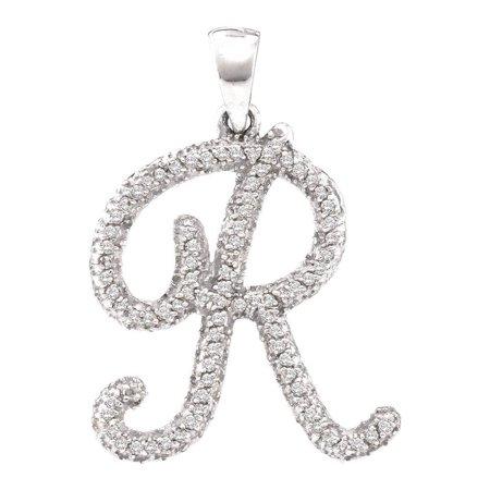 "10k White Gold 0.17Ctw Diamond Initial ""R"" Pendant"