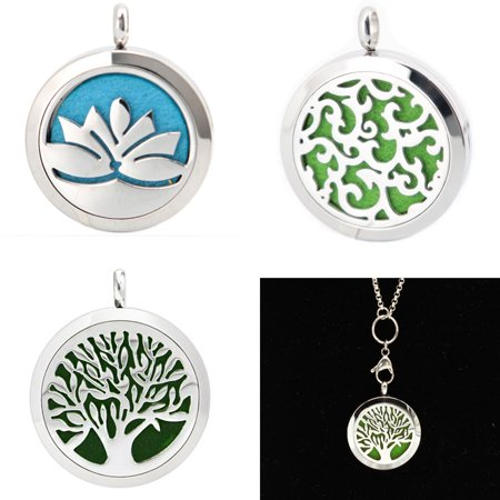 Meigar Essential Oil Diffuser Necklace Aromatherapy Jewelry Wave Stainless Steel Locket Pendant