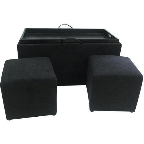 Designs4Comfort Microfiber Ottoman with 2 Side Ottomans, Black