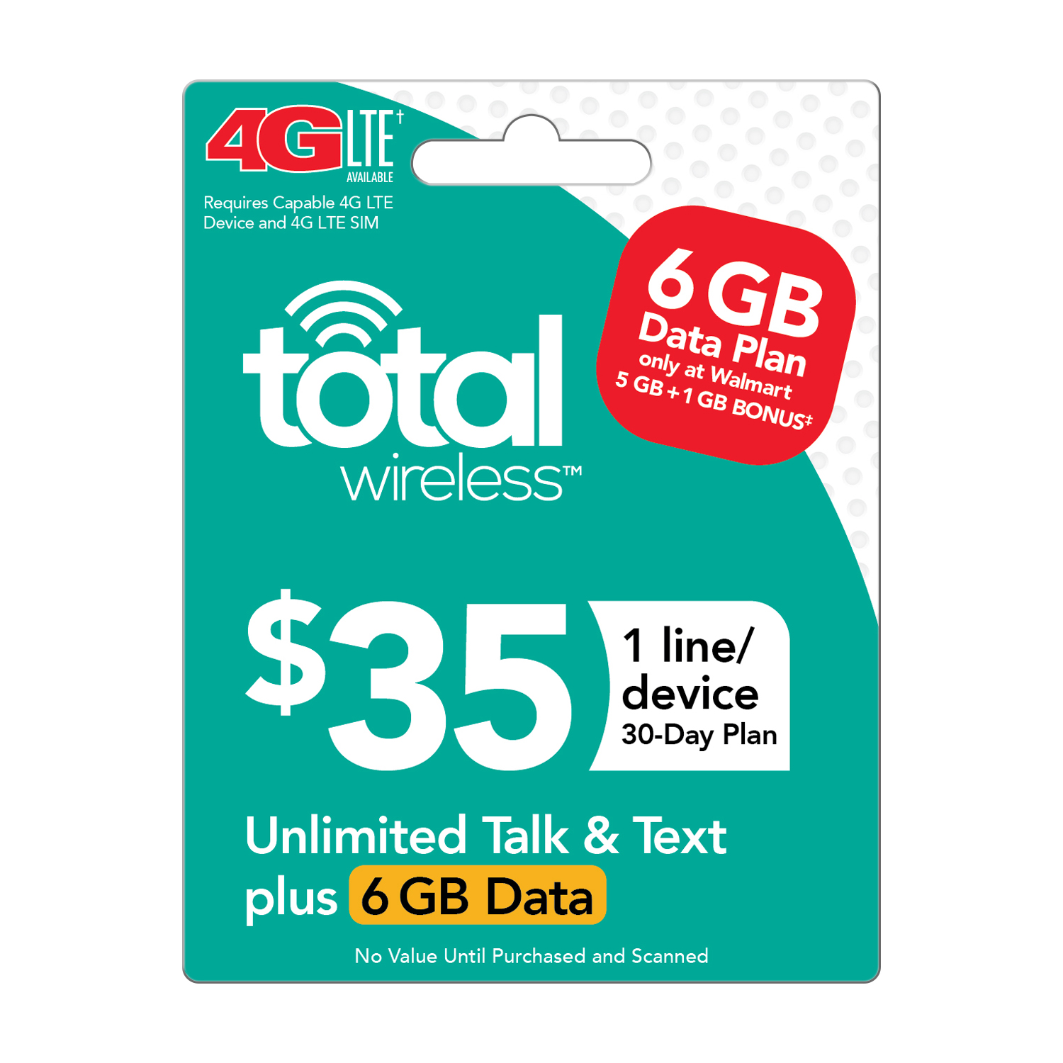 Total Wireless $35 30 Day Plan - Unlimited Talk and Text with 6GB of High Speed Data (Email Delivery)