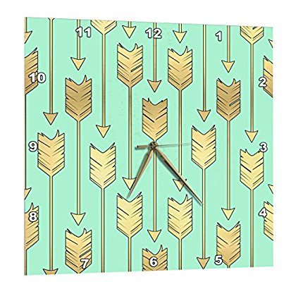 3dRose Mint and Gold Arrows Pattern, Wall Clock, 10 by 10-inch (Arrow Clock)