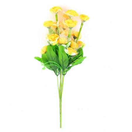 Unique Bargains Yellow Artificial Emulational Carnation Flower Bouquet Wedding Party Decor for Home