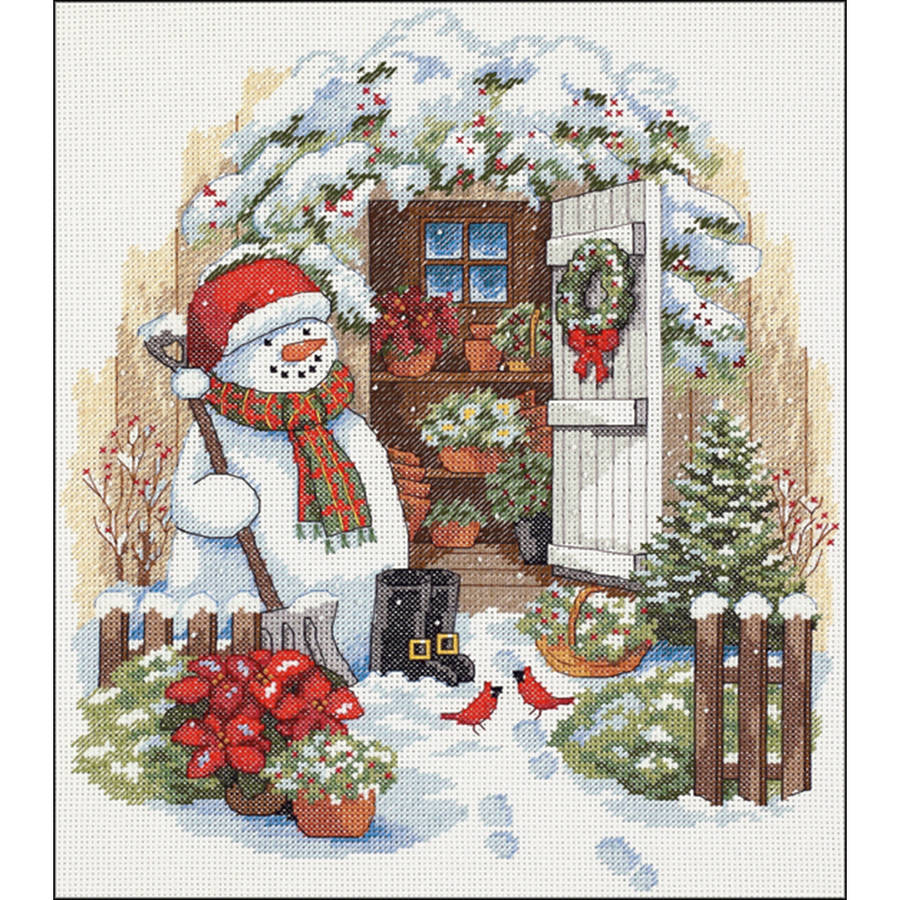 """Garden Shed Snowman Counted Cross-Stitch Kit, 12"""" x 14"""", 14-Count"""