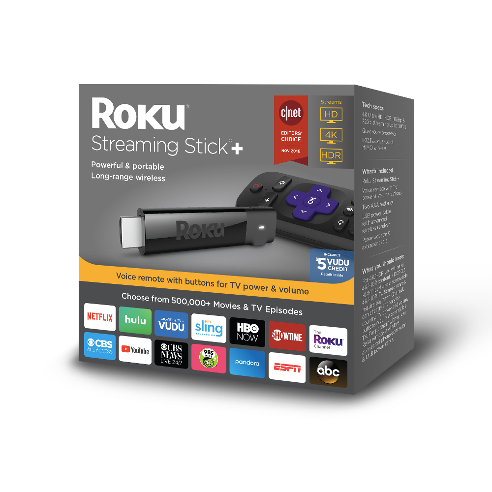 Roku Streaming Stick+ 4K-$15 FREE VUDU CONTENT WITH $35 CREDIT TOWARDS SLING TV AND 30-DAY FREE TRIAL OF SHOWTIME