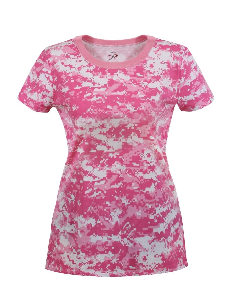 Womens Soft Pink Digital Camouflage T-Shirt