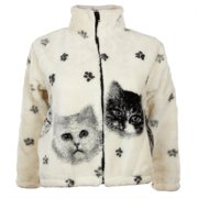 Kittens and Paw Prints Full Zip Sherpa Fleece Fitted Juniors Jacket